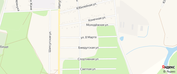 Улица 8 Марта на карте аула Тахтамукая Адыгеи с номерами домов