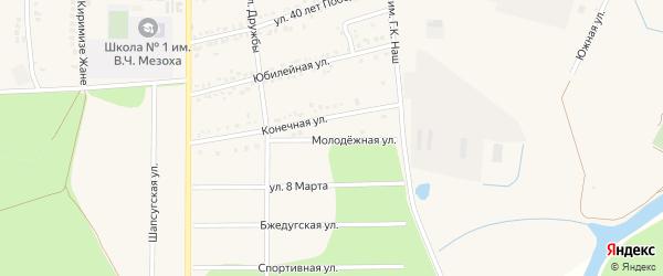 Молодежная улица на карте аула Тахтамукая Адыгеи с номерами домов