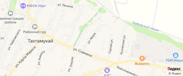 Улица Мира на карте аула Тахтамукая Адыгеи с номерами домов