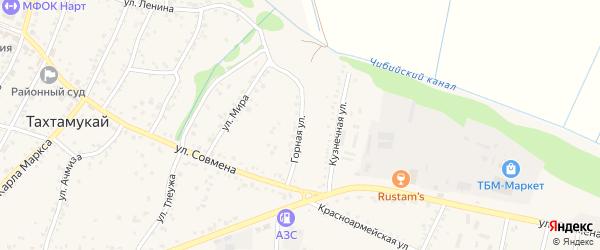 Горная улица на карте аула Тахтамукая Адыгеи с номерами домов