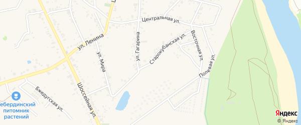 Старокубанская улица на карте аула Козет с номерами домов