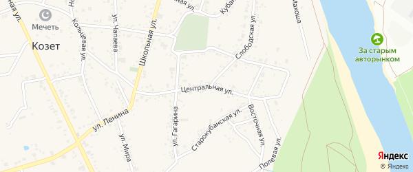 Центральная улица на карте аула Козет Адыгеи с номерами домов