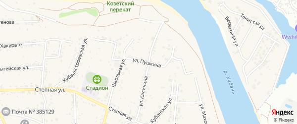 Улица Пушкина на карте аула Козет Адыгеи с номерами домов