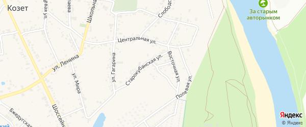 Западная улица на карте аула Козет Адыгеи с номерами домов