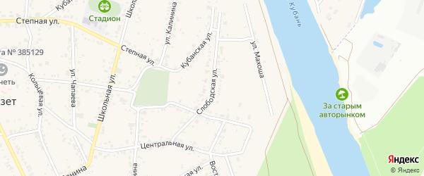Слободская улица на карте аула Козет Адыгеи с номерами домов