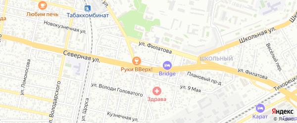 Переулок им Докучаева на карте Краснодара с номерами домов