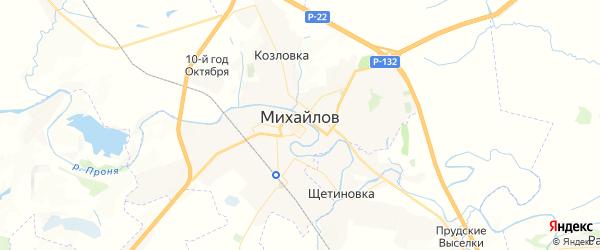 Карта Михайлова с районами, улицами и номерами домов