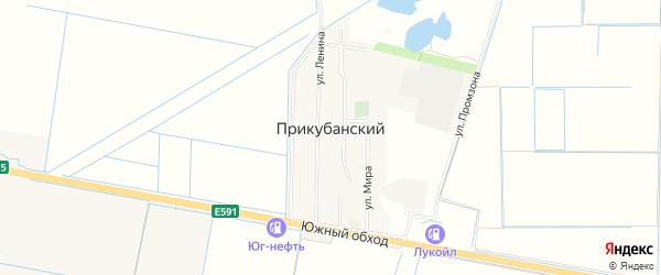 Территория днт Берег Кубани на карте Прикубанского поселка Адыгеи с номерами домов