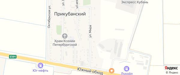Улица Мира на карте Прикубанского поселка Адыгеи с номерами домов