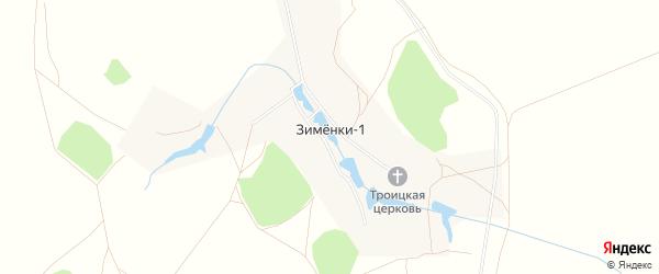Карта деревни Зименки-1 города Зарайска в Московской области с улицами и номерами домов