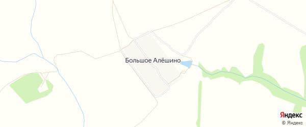 Карта деревни Большое Алешино в Рязанской области с улицами и номерами домов