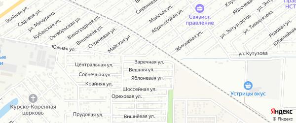 Заречная улица на карте садового некоммерческого товарищества Надежды с номерами домов