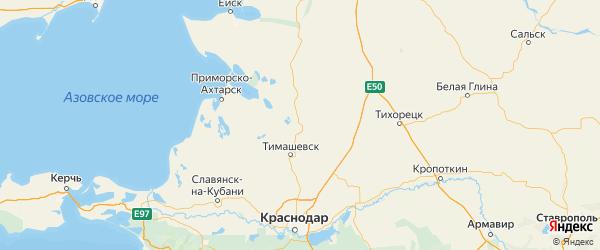 Карта Брюховецкого района Краснодарского края с городами и населенными пунктами