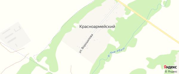 Улица Ворошилова на карте Красноармейского хутора Адыгеи с номерами домов