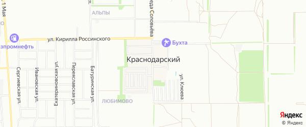 Карта Краснодарского поселка города Краснодара в Краснодарском крае с улицами и номерами домов