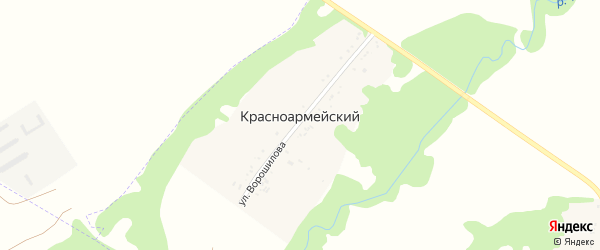 Дорога А/Д Подъезд к х. Красноармейский на карте Красноармейского хутора Адыгеи с номерами домов