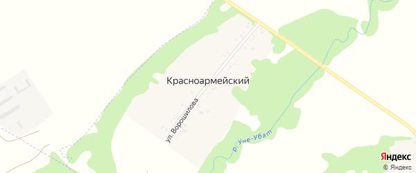 Дорога А/Д Подъезд к х. Красноармейский на карте Красноармейского хутора с номерами домов