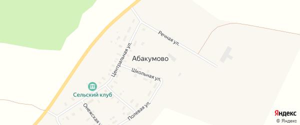 Почтовая улица на карте деревни Абакумово Архангельской области с номерами домов