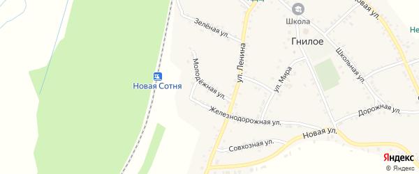 Молодежная улица на карте Гнилого села Воронежской области с номерами домов