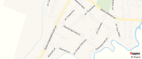 Пролетарская улица на карте Шенджий аула Адыгеи с номерами домов