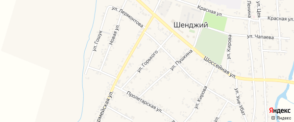Улица Горького на карте Шенджий аула Адыгеи с номерами домов