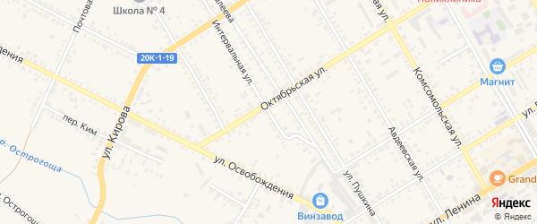 Интервальная улица на карте Острогожска с номерами домов