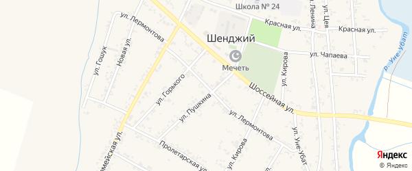 Улица Лермонтова на карте Шенджий аула Адыгеи с номерами домов