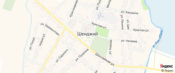 Железнодорожная улица на карте Шенджий аула Адыгеи с номерами домов