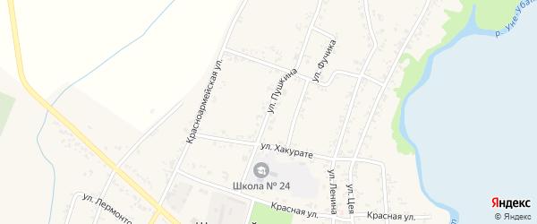 Улица Пушкина на карте Шенджий аула Адыгеи с номерами домов