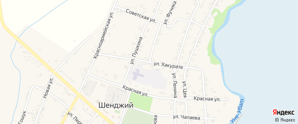 Улица Хакурате на карте Шенджий аула Адыгеи с номерами домов