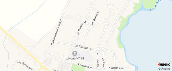 Молодежная улица на карте Шенджий аула Адыгеи с номерами домов