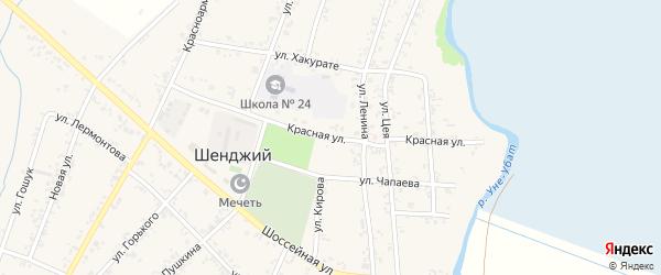 Красная улица на карте Шенджий аула Адыгеи с номерами домов