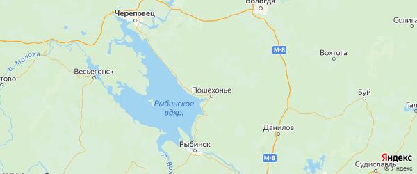 Карта Пошехонского района Ярославская области с городами и населенными пунктами