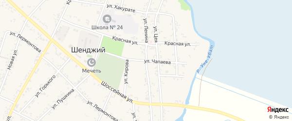 Улица Чапаева на карте Шенджий аула Адыгеи с номерами домов