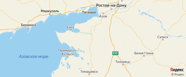 Карта Староминского района Краснодарского края с городами и населенными пунктами