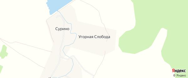 Карта деревни Угорной Слободы города Коломны в Московской области с улицами и номерами домов