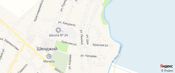 Улица Цея на карте Шенджий аула Адыгеи с номерами домов