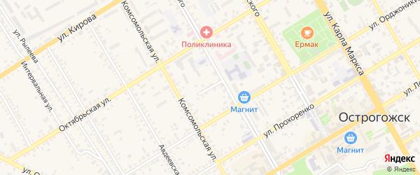 Переулок Нарского на карте Острогожска с номерами домов