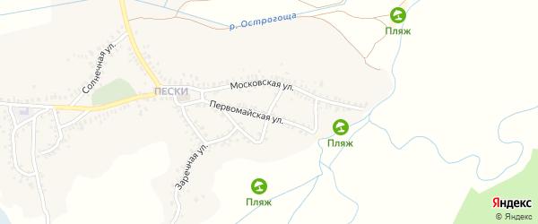 Спортивный переулок на карте Острогожска с номерами домов