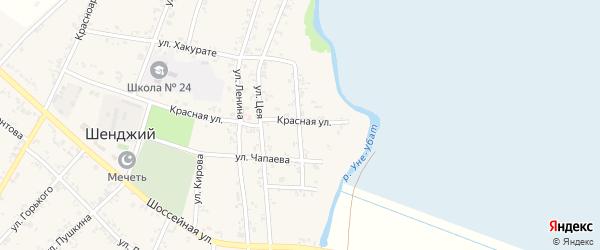 Набережная улица на карте Шенджий аула Адыгеи с номерами домов