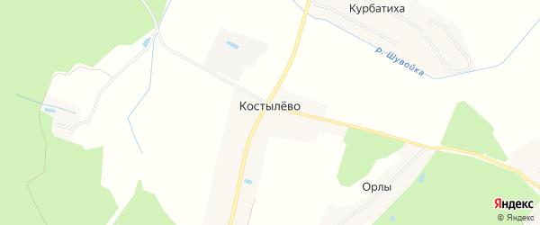 Территория СНТ Тополек на карте деревни Костылево с номерами домов