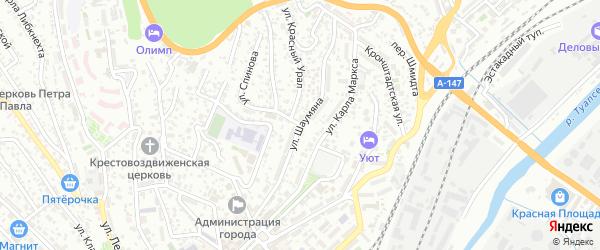 Улица Шаумяна на карте Туапсе с номерами домов