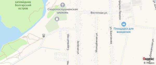 Зеленая улица на карте поселка Тлюстенхабля Адыгеи с номерами домов