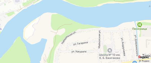 Набережная улица на карте поселка Тлюстенхабля Адыгеи с номерами домов