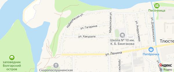 Улица Хакурате на карте поселка Тлюстенхабля Адыгеи с номерами домов