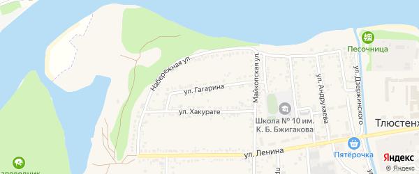 Улица Гагарина на карте поселка Тлюстенхабля Адыгеи с номерами домов