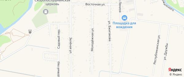 Молодежная улица на карте поселка Тлюстенхабля Адыгеи с номерами домов