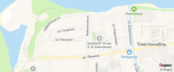 Майкопская улица на карте поселка Тлюстенхабля с номерами домов