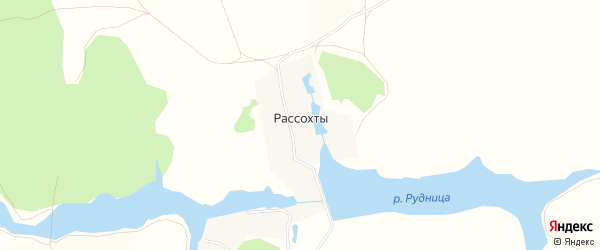 Карта деревни Рассохты города Зарайска в Московской области с улицами и номерами домов