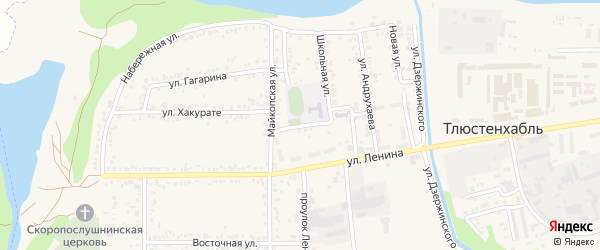 Школьный переулок на карте поселка Тлюстенхабля Адыгеи с номерами домов